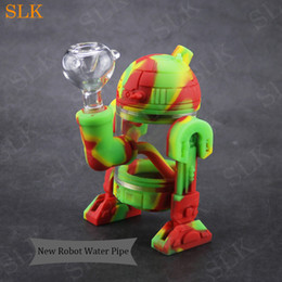 mask rig 2019 - Cute design Robot shape glass water bubbler percolator pipe silicone oil rig 5inch 10 colors silicone smoking herb pipes