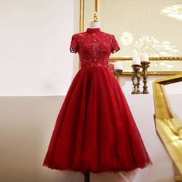 $enCountryForm.capitalKeyWord Australia - Modest Red Tea Length Prom Dresses Lace Tulle Shiny Beaded Crystal Short Sleeves Evening Gowns High Collar Cheap Party Dress VESTIDOS