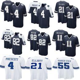 99d2aae470a Cowboys 4 Dak Prescott 21 Ezekiel Elliott 50 Sean Lee 82 Jason Witte 11 Cole  Beasley 90 Lawrence Vander Esch Emmitt Smith 55 Football Jersey
