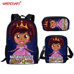 cute little backpacks Australia - WHEREISART 3 PCS SET Girl Cartoon Kids School Bag for Child Naturally Cute Black Queen African Little Baby Princess Backpack