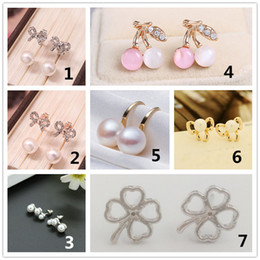 rhinestone cherry earrings NZ - Sweet Pearl Imitation Earrings for Women Girls Rhinstone Bowknot Ear Studs Opal Cherry Earring Party Female Jewelry