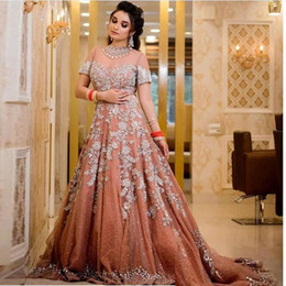 champagne gowns india 2021 - Luxury India Style A Line Prom Dresses High Neck Short Sleeve Tassel Appliques Crystal Evening Gowns Evening Dress 2020