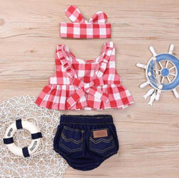 Girls Denim Bow Shirt Australia - Summer baby girl clothing set Plaid Skirted T-shirt Tops+Denim Short Headband baby girl clothes Newborn Outfits