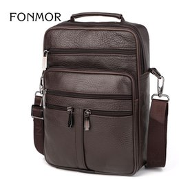 ipad mini bag men NZ - FONMOR Big Tote Bag for Men Business Vintage Genuine Leather Messenger Bag Travel High Quality Ipad Mini Shoulder Crossbody BAG #171758