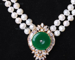 $enCountryForm.capitalKeyWord NZ - necklace Free shipping ++++Wholesale price FREE ^^Beautiful 2Rows White Pearl Green Jade Pendant Necklace