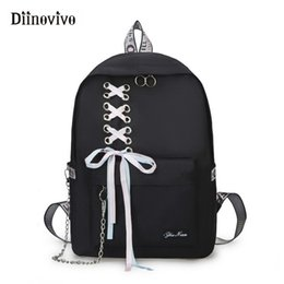 big canvas backpacks NZ - Diinovivo Fashion Big Capacity School Bag Laptop Backpack Female Canvas Bags For Women Ribbon Chain Backpacks For Girls Whdv0717 J190525