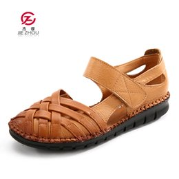 leather soft shoes sandals Australia - Summer Shoes Woman Genuine Leather Flat Sandals Soft Bottom Comfortable Women Shoes Hand Sewing Gladiator Sandals Y19070403