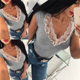 Wholesale piping one piece for sale – plus size Trendy Summer Women clothes V neck lace Short Sleeve Tops pullover slim Casual Loose T shirts one pieces