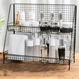 double shelf organizer NZ - Iron Art Makeup Home Organizer Storage Shelf Multifunction 2 Layers Storage Shelf Kitchen Storage Tool Bathroom Table Organizer T200413