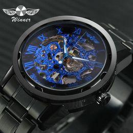 $enCountryForm.capitalKeyWord Australia - 2019 Winner Mechanical Watches For Men Hand-wind Steel Watches Roman Number Skeleton Wristwatches Luminous Hands Reloj Hombre J190706