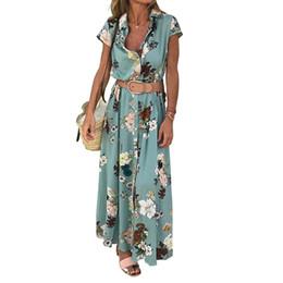 $enCountryForm.capitalKeyWord NZ - With Belt Floral Print Loose Soft Long Turn Down Collar Retro Summer Short Sleeve Travel Dating Daily Pleated Women Dress