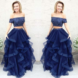 Discount plus size elegant sparkly dresses Navy Blue Celebrity Sparkly Sequins Prom Dresses Two Piece Short Sleeve Off The Shoulder Long Ruffles Formal Evening Gowns Elegant Q75