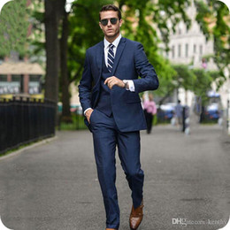 blue office suit Australia - Custom Made Blue Business Tuxedo Men Suits Handsome Groom Wear Office Man Blazer Jacket 3Piece Coat Pants Vest Terno Masculino Costume Homme