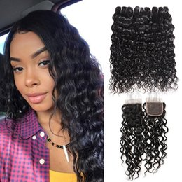 cheap water wave weave 2019 - Cheap 8A Brazilian Water Wave Hair With Closure 3 Bundles With Closure Peruvian Natural Wave Hair With Closure Wavy Huma