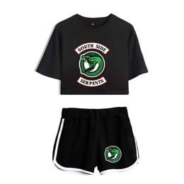 Suit T Shirt Short Australia - Riverdale Two Piece Set Summer Sexy Cotton Printed T Shirt Album Woman New Suit Shorts Crop Riverdale Fashion Tops+shorts 2018 J190410