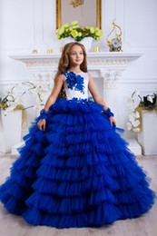 $enCountryForm.capitalKeyWord NZ - Luxury Royal Blue Lace Appliqued Tiered Flower Girl Dress Vintage Tulle Girl Birthday Prty Pageant Gown Long Formal Wedding Dresses