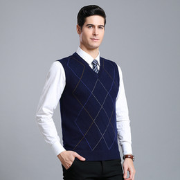 Wholesale argyle sweater men for sale - Group buy New arrival Male Winter Wool Vest Sweater men Sleeveless Casual Knitted V neck fashion argyle sweater high quality