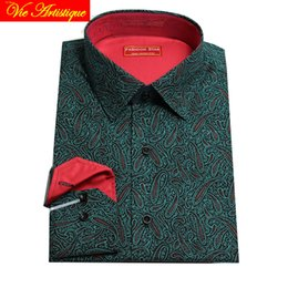 army dress whites Australia - custom tailor made Men's bespoke cotton floral dress shirts business formal wedding ware blouse green paisley flower 2019