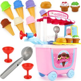 Discount toy play kitchen sets - 31pcs Children Simulation Kitchen Toys Tableware Tools Ice Cream Candy Set Play House Toy Trolley Kids Pretend Play Pink