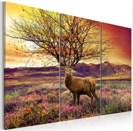 $enCountryForm.capitalKeyWord Australia - Fancy Antlers Oil Painting 3pcs set (No Frame) Boutique Animal Giclee Wall Art Picture For Home Decor Wall Decal (Size:3)