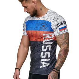 04418b6f971 wholesale 2019 Summer New Slim Fit T Shirt Men Tops Tees Casual Male t-shirt  Short Sleeves Print Muscle Man tshirt Fitness russian