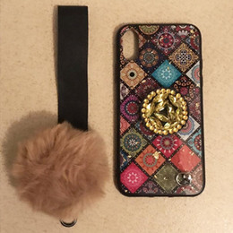 $enCountryForm.capitalKeyWord Australia - Luxury square pattern phone case for iphone MAX XS XR fashion fox fur ball lanyard extension bracket Phone cover case for iphone 7 8 plus X