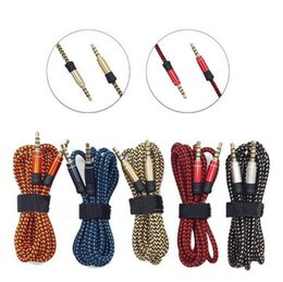 Wholesale iphone fabric braided cords for sale - Group buy 3 mm Auxiliary AUX Extension Audio Cable Unbroken Metal Fabric Braieded Male Stereo cord M M for iphone x MP3 Speaker Tablet PC