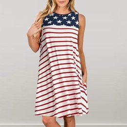American Flag Dress Xl Australia - Plus Size Women Tshirt Dress 2019 Casual Pockets Patriotic Stripes Star American Flag Print Tank Mini Dress Vestidos verano 2019