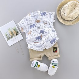 baby short sleeve shirt 2019 - Summer Fashion Children Clothing Baby Boys Clothes Casual Short Sleeve Animal Print T-shirt Tops+Shorts Costume Set Fash