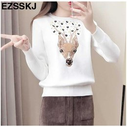 handmade knitted pullover Australia - 2017 luxurious Cashmere Embroidered Christmas Handmade Bead Elk sequins Sweater Women Winter Pullover lady Knit thick Sweater