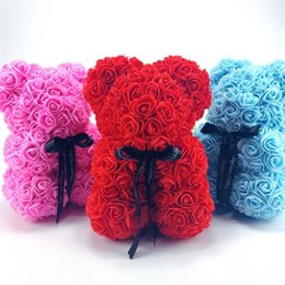 Plastic bears online shopping - 25 cm high flowers bear artificial flower plastic bear many colors for choose girls gift birthday present birthday gift foam