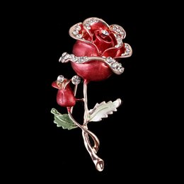 $enCountryForm.capitalKeyWord Australia - New Crystal Rose Bouquet Brooches For Women Luxurious Flowers Broches Fashion Jewelry Scarf Lapel Pins Brooch For Wedding Dress