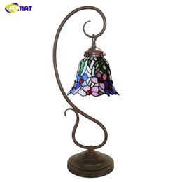 $enCountryForm.capitalKeyWord Australia - FUMAT Stained Glass Table Lamp Creative Art Glass Orchid Shade Lamp Living Room Bedside Lamps Book Store Bar LED Table Lights