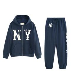 Zip sweatshirt jacket online shopping - Italy Designers NY Yankees Logo Patch Jersey Printed Mens Hoodies ZIP UP Jacket Coat Men Women Sweatshirts Pant Man Trousers BWK30