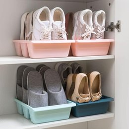 bathroom cabinet shelves UK - OTHERHOUSE 3 Grid Shoe Rack Stand Shelf Holder Shoe Organizer Shoes Storage Racks Cabinet Organizer Slot Shoebox Three Colour Y200527