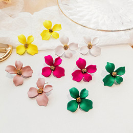 Discount paint big flower - New Korean Style Spray Painted Big Flower Stud Earrings For Women Fashion Summer Accessories Elegant Earring