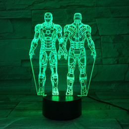 $enCountryForm.capitalKeyWord NZ - Marvels The Avengers Figure Iron Man 3D Led Night Light 7 Multi Color Acrylic Flashing Table Lamp Childrens Toy Lights