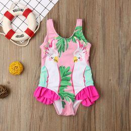 Swimwear Infant Australia - Meihuida One Piece Baby Girls Bathing Suit Cartoon Parrots Print Infant Bikini Bow Swimwear Princess Swimsuit Cute Beachwear