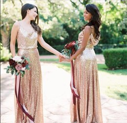 Cheap Rose Red Bridesmaid Dresses Australia - 2019 Bling Long Bridesmaid Dresses Rose Gold Sequins Cheap Spaghetti Straps Ruched Floor Length Wedding Guest Maid Of Honor Dresses