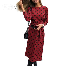 0a5f1c0d579 Women Polka Dot Winter Dress UK - Polka Dot Dress Women Bandage Vintage  Dress Party Long