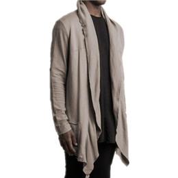Solid Cotton Shawl Australia - Mens Cardigan Long Sleeve Men T Shirt Stylish Shawl T -Shirt Men Streetwear Hip Hop Tshirt Solid Color Camisetas Hombre Clothes M-3XL
