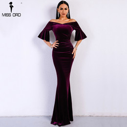 $enCountryForm.capitalKeyWord NZ - Missord 2019 Women Sexy Off Shoulder Speaker Sleeve Female Dresses Velvet Solid Color Bodycon Elegant Maxi Party Dress FT9080 Y190117