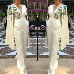 Dress suits online shopping - Elegant V Neck Long Evening Dresses Pant Suits Capped Embroidery Floor Length Prom Party Gowns Jumpsuit Celebrity Dresses