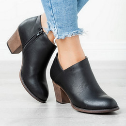 $enCountryForm.capitalKeyWord Australia - Women Pointed Toe PU Leather Short Ankle Boots New Fashion Shallow Zipper Mid Chunky Block Heel Spring Autumn Ankle Boots