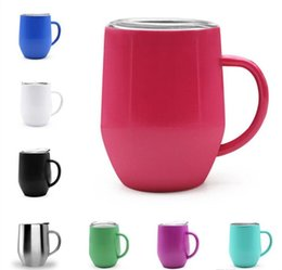Coating Mug Australia - Egg Cup wine glass With Handle Double Wall stainless steel Thermos Stemless Powder Coated Travel Beer Mugs Towel