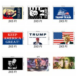 America Decor NZ - 90x150cm Donald Trump 2020 Flag Print Keep America Great Banner Garden window Decor for President USA American Donald Flag AAA2047