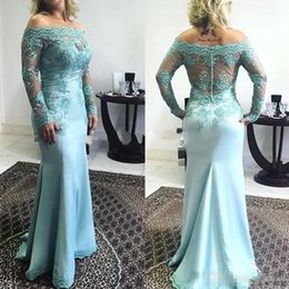 mother groom evening gowns Australia - Modest Ocean Blue Mother of Bride Groom Dresses Vintage Long Sleeve Appliques Off Shoulder With Button Covered Back Evening Gowns