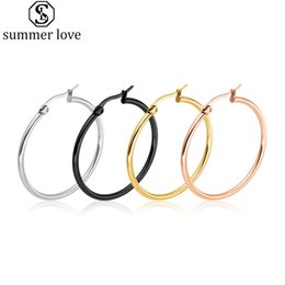 classic style jewelry 2021 - Fashion Stainless Steel Earrings Classic Style Silver Black Elegant Simple Multi Size Hoop Earrings Jewelry For Women Gi