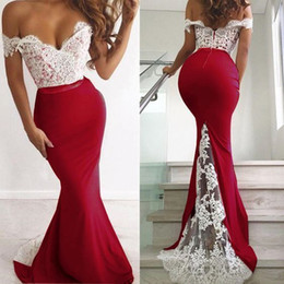 Cheap Lace Nude White Dress Australia - Amazon Mermaid White Lace Red Satin Evening Formal Dress Off The Shoulder Open Back Cocktail Party Dresses Evening Wear Robes Cheap Long