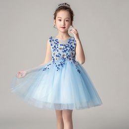 2950b09e84634 Summer children princess dress wedding dress girls net gauze dress  performance piano catwalk clothing